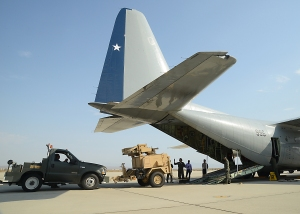 An AN/MPQ-64 Sentinel radar is loaded onto a Chilean Air Force C-130 ready for transport. (USAF)